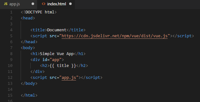 Vue html page hello world